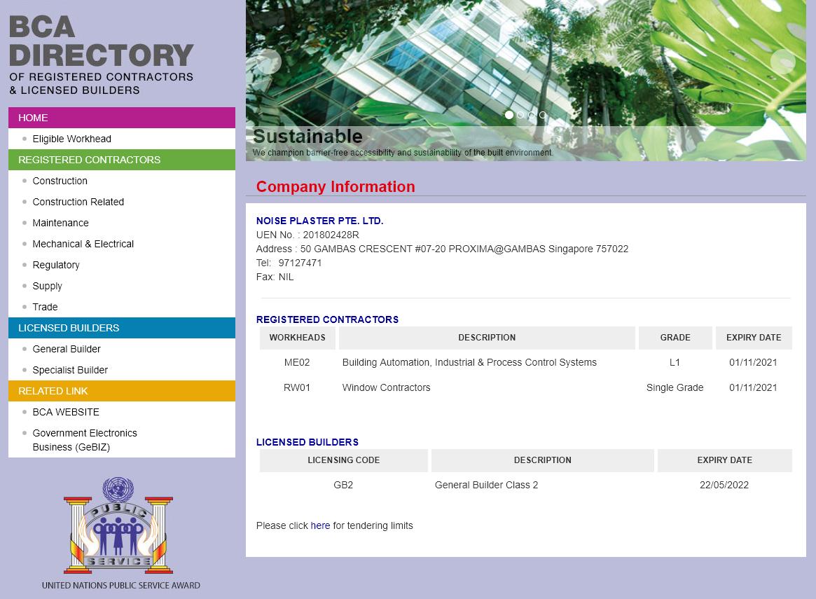 BCA LICENSED - Registered Contractor: RW01 Window ContractorsLicensed Builder: GB2 General Builder Class 2