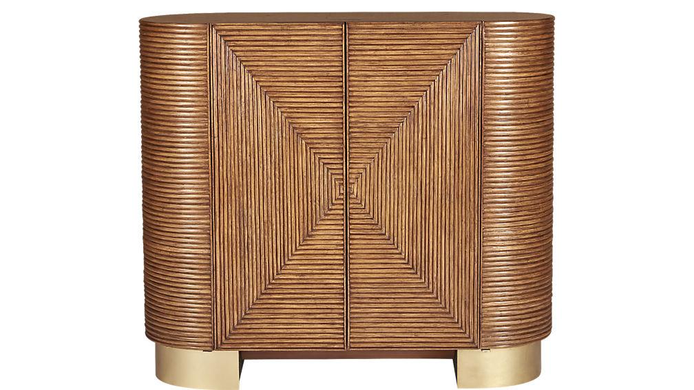 cb2 bar rattan cabinet
