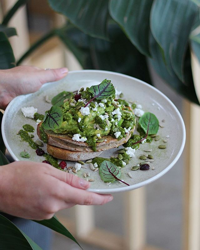 Toasted light rye with fresh herbs & feta, house made pesto & seeds // Avocado Smash is here to please.