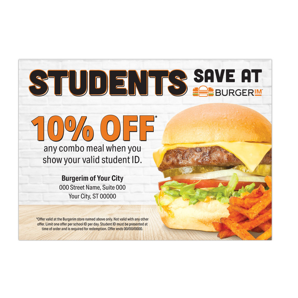 250 Student Discount Coupons 5 X3 Madefor Burgerim
