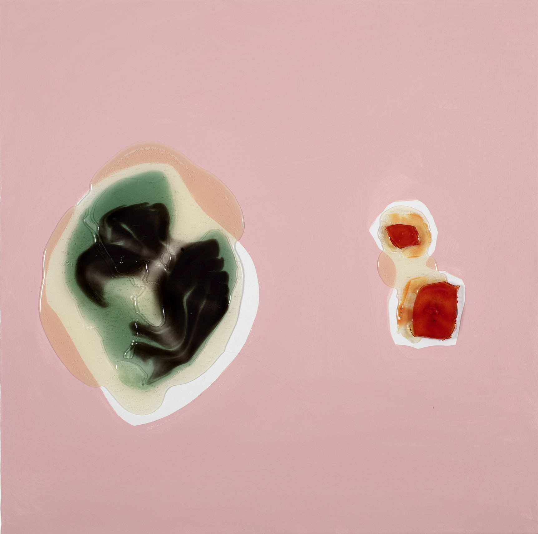 Shony Rivnay, Two Elements in Pink, Polyurethane and Acrylic on Canvas, 60x60 cm, 2016.jpg