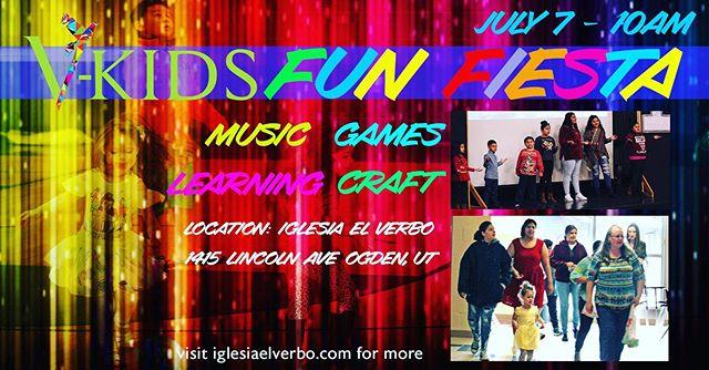 Te invitamos a nuestro evento para niños en 7/7 #ogdenutah #iglesiaelverbo registrarse en #eventbrite o iglesiaelverbo.com programa #bilingüe #comunidadhispana