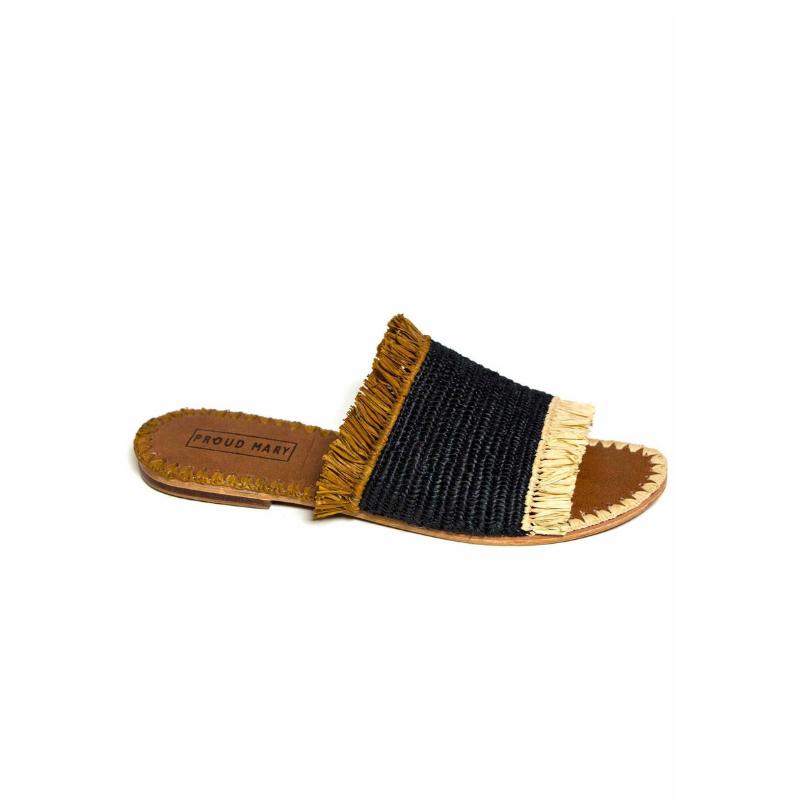 PROUD MARY    Raffia Desert Fringe Slide Sandal