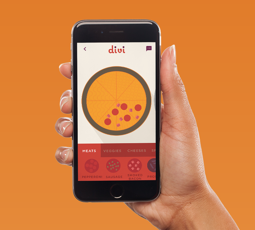 A group experience that respects your pizza preferences. - Through a warm and inviting brand which utilizes colors that invoke hunger and remind one of pizza, Divi offers an experience that allows users to select how much of a pizza they want, customize what they want on said pizza, and then allows for individual payment.Graphic visualizations of pizza ingredients retain some realism to create user comfort through familiarity. These graphics also create differentiation between each user's section of the pizza with subtle patterns. This allows individuals to visualize and have control over how much of the pizza they want and what specific toppings they would like on their section of the pizza. Divi allows users to create groups to order with and saves previous orders so that users can quickly reorder with individuals they frequently enjoy pizza with. In order to allow the user to feel informed and in control, we also included screens with updates on the pizza's progress.