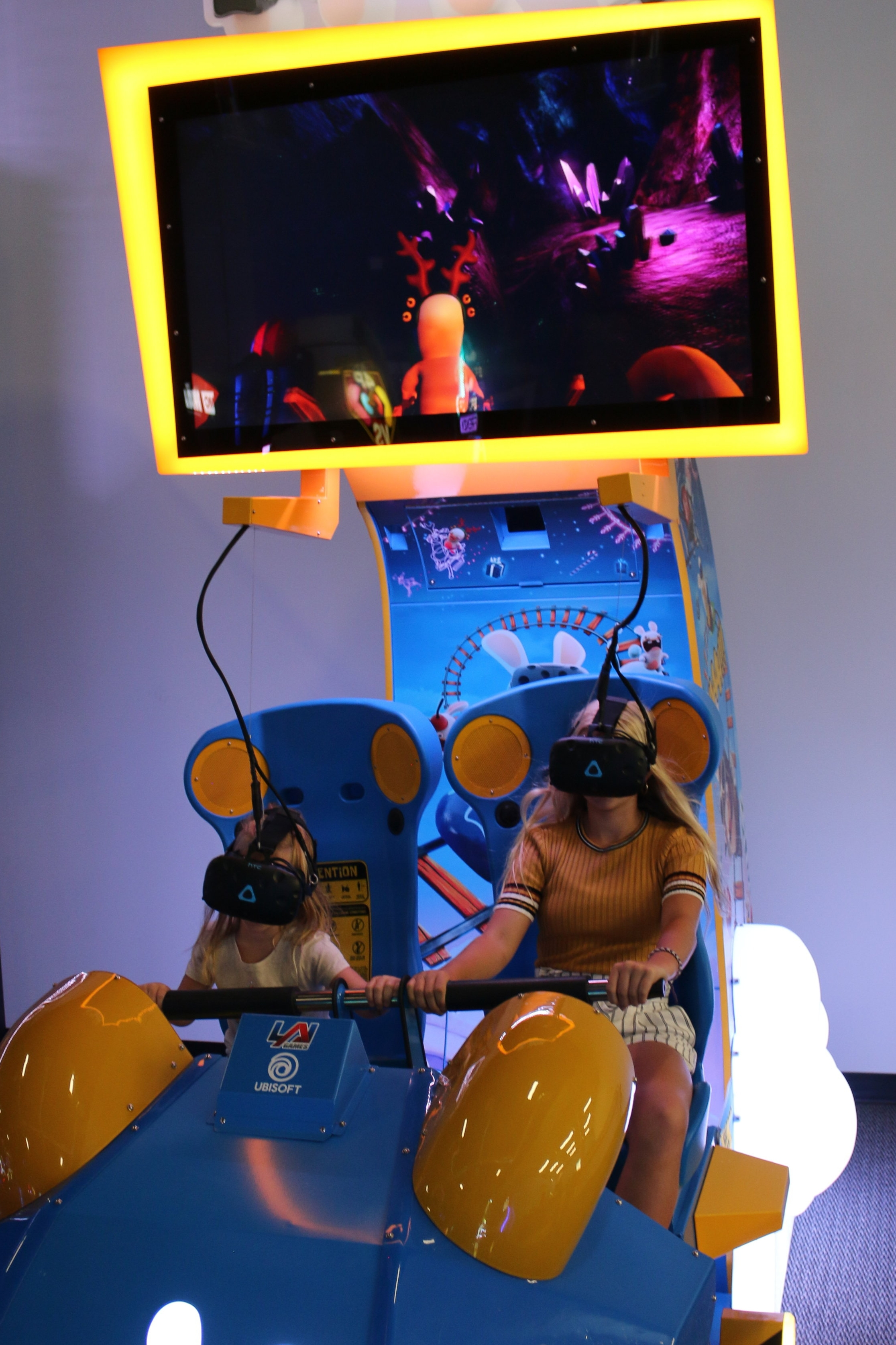 VR Rabbids RollerCoaster - Get ready to scream on this virtual reality roller coaster! You'll feel every twist, turn, fall, and slide as you cruise through an incredible digital world. Just remember to hang on tight!$3.00/ride