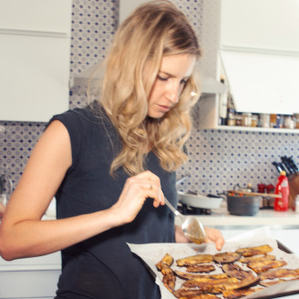 This is me, doing my eggplant bacon prep!