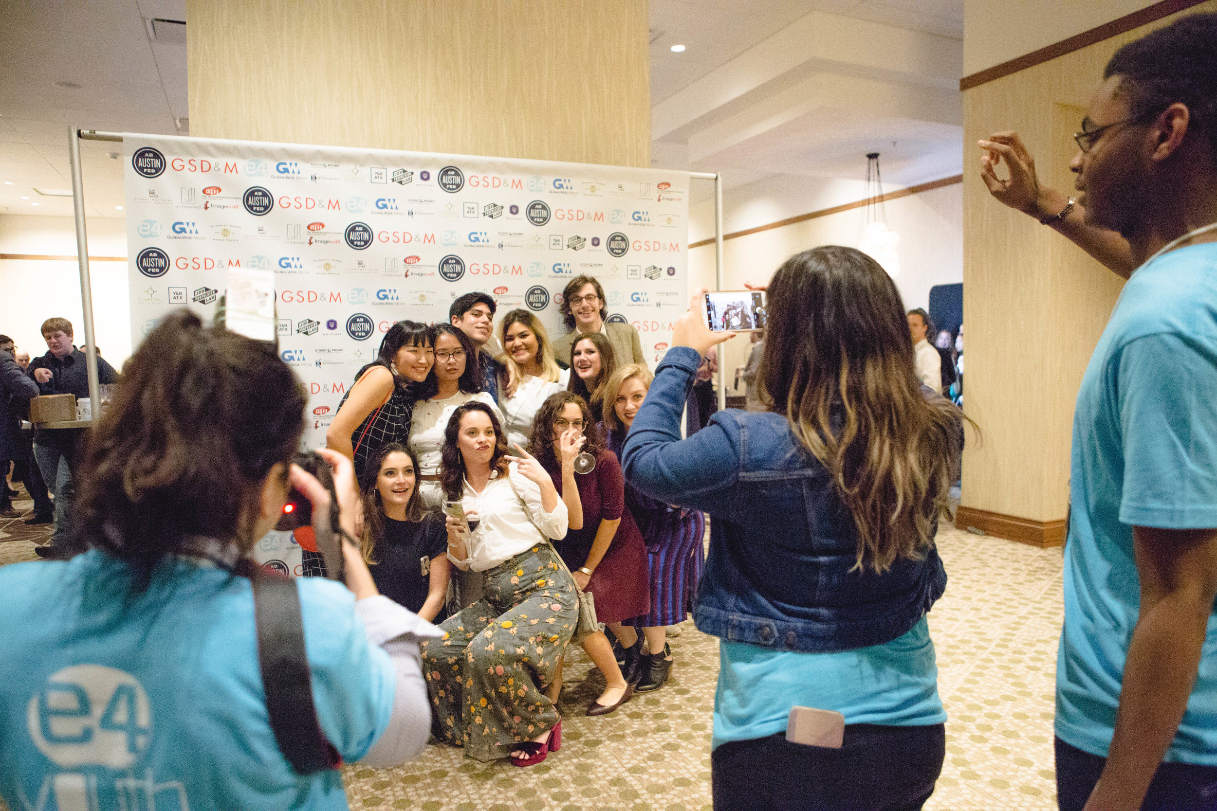 Students from the University of Texas Advertising pose for their photos, happily leaving the night with many awards.