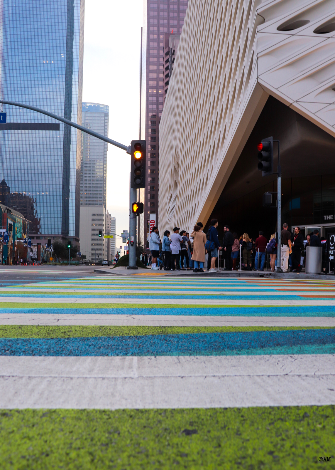 The multi-colored crosswalk by the Venezuelan artist, Carlos Cruz-Diez, outside The Broad.