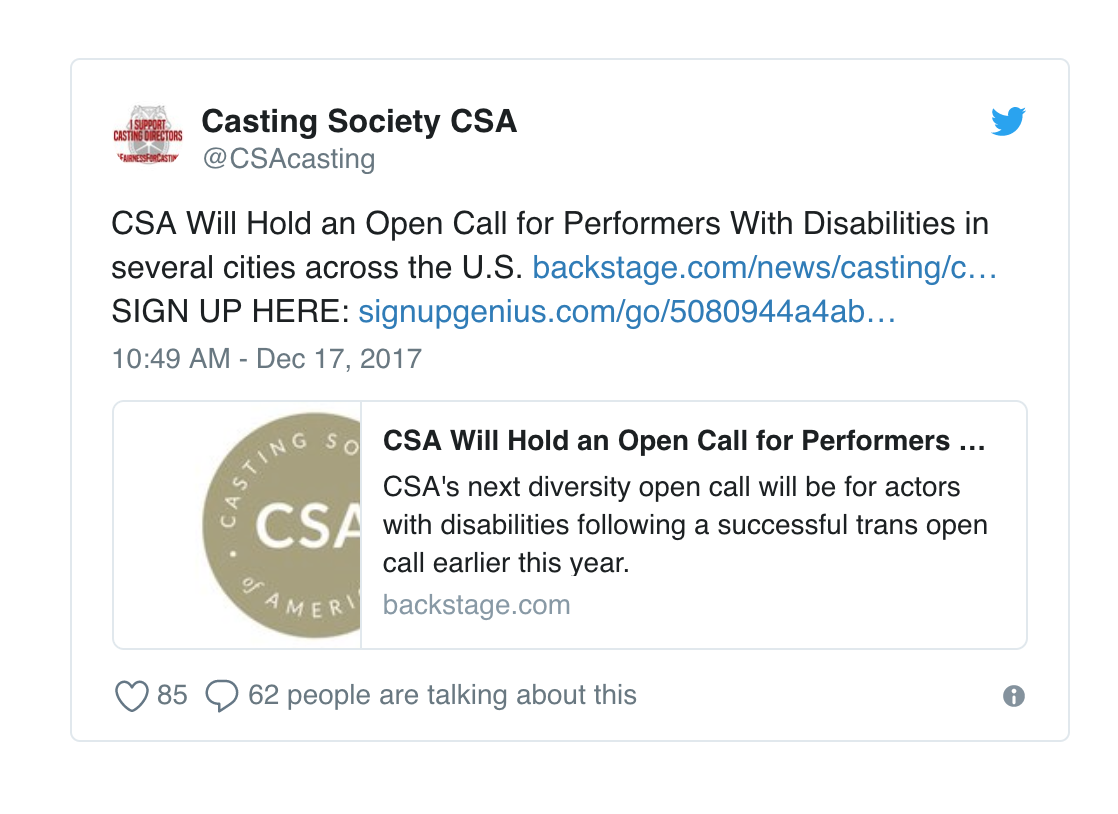 Casting Directors are trying to help but there are not enough roles written for performers with disabilities.