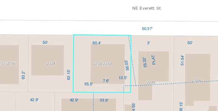 2233-40 NE Everett site plan.