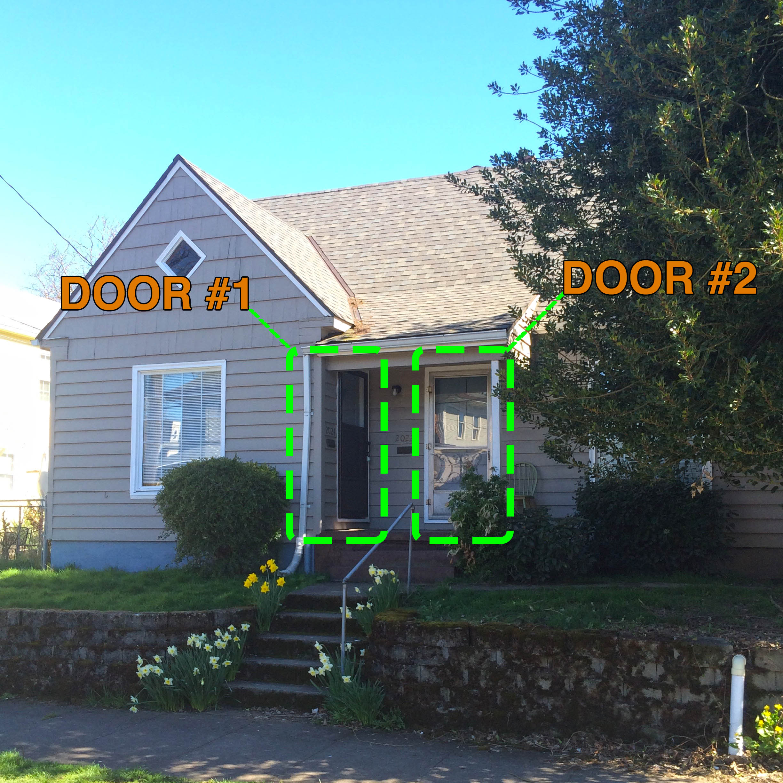 Oblique view showing door placement.