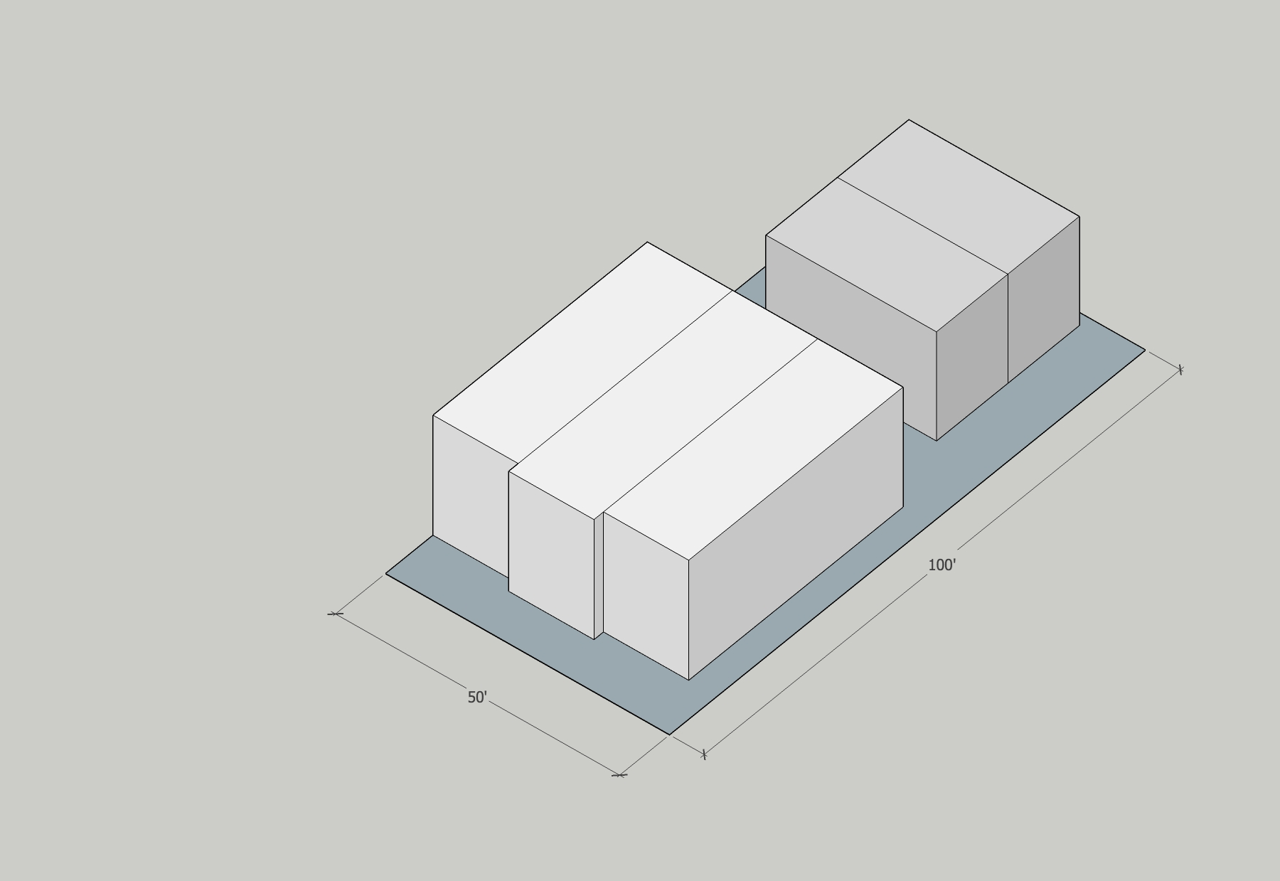 Site Data (just the 5000sf containing the two new structures) Building Area:  Building 1 (Front) 4500sf Building 2 (Rear) 1800sf  Neighborhood:  Hosford-Abernethy  Year Built:  2014 (per Assessor data, actual phasing unknown)  Typology:  side-by-side townhouse/rowhouse  Units:  5 (3 in phase I, 2 in phase II)  Stories:  2  Site Area:  5000sf  Building Area:  6300sf  FAR:  1.26:1  Height: 2 stories,  25' approx.  Density:  Phase I Triplex – 26.1 du/ac Triplex + Phase II Duplex 43.6du/ac Whole Site:29.0du/ac  Parking:  on-street  Zoning:  R-1 (1du/1000sf)  Is it legal?  Yes