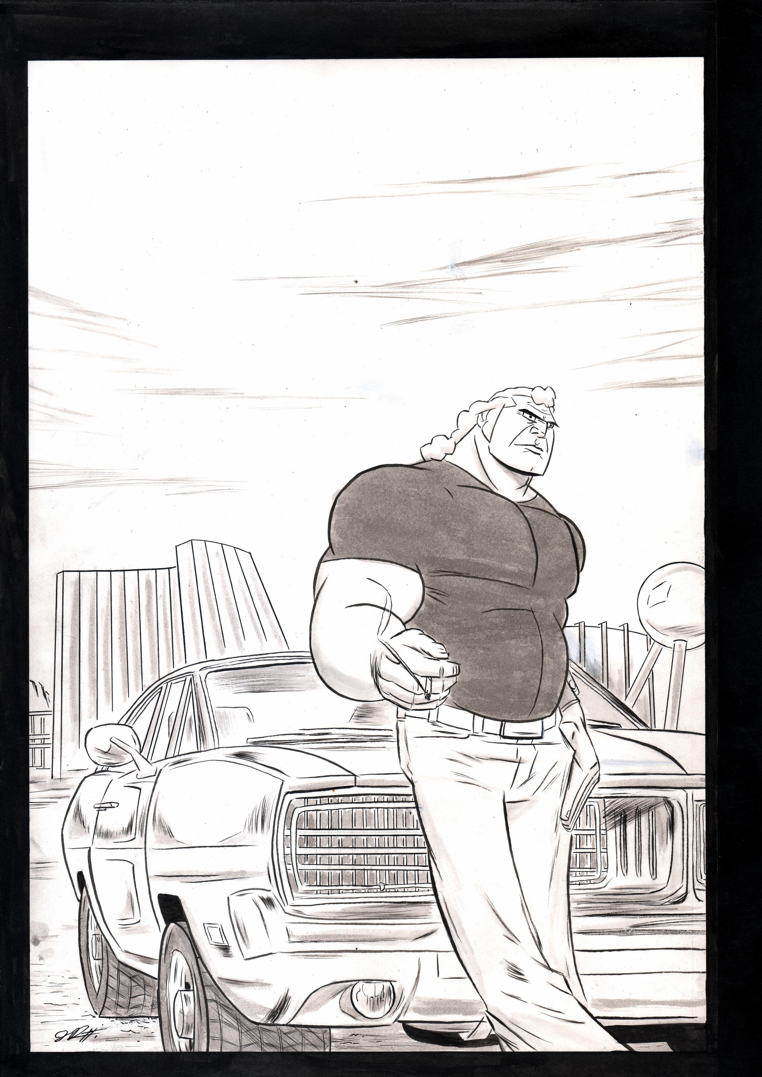 "Brock Samson - Brock and his Dodge Chargeink and wash - 11"" x 17"""