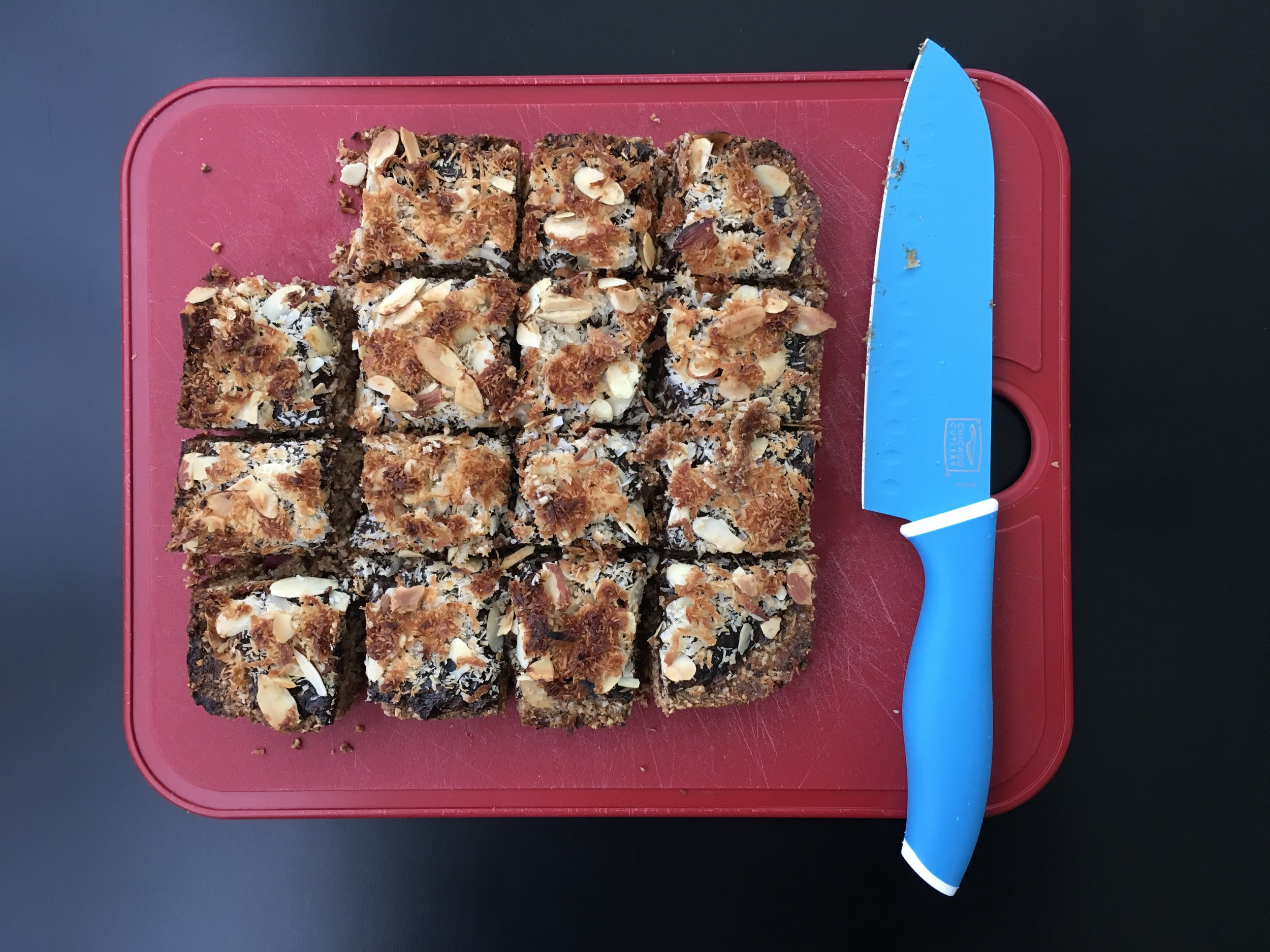coconut-date power breakfast bars on cutting board