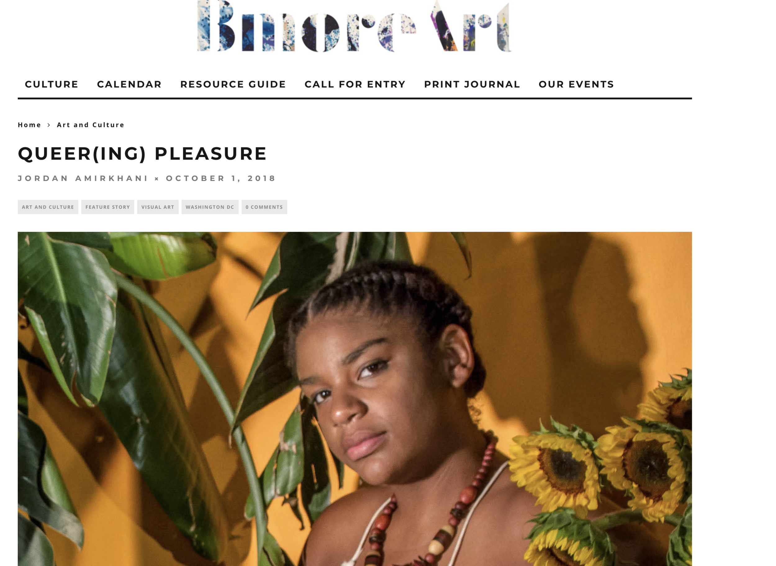 """QUEER(ING) PLEASURE - JORDAN AMIRKHANI OCTOBER 1, 2018"""" However, the explosive and dynamic condition of queerness and bodily pleasure is articulated the most magnanimously in the examples of queer women of color represented in the show. Monique """"Muse"""" Dodd's luminous photographs of take on the quieter (but no less radical) conditions of self-care, healing, and spirituality to construct an image of queerness that is open and inclusive, yet attentive to the specific needs and histories of black persons within white heteronormative patriarchal culture. """""""