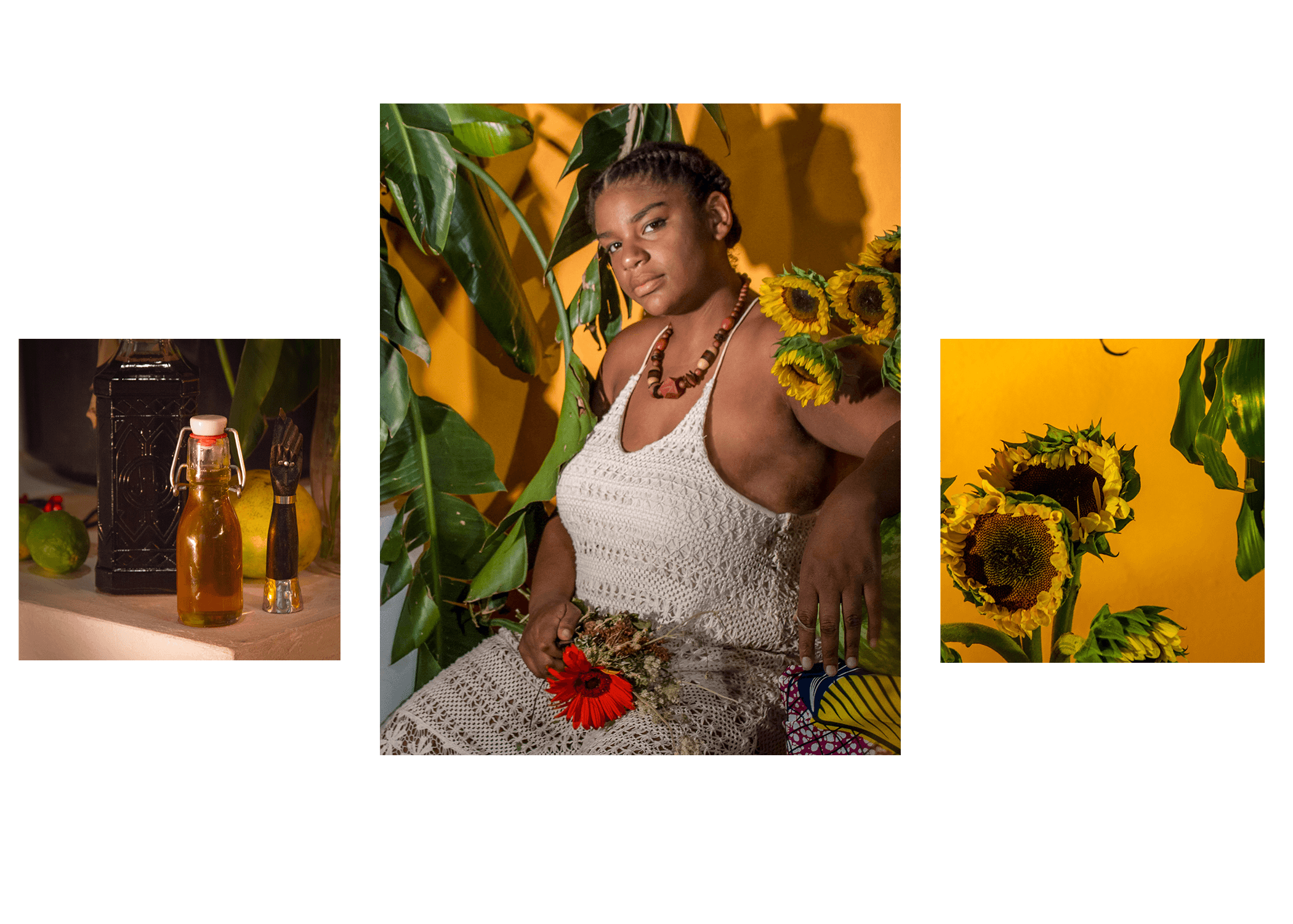 "La Negra de Nadie   (Self Portrait 2017)  Monique Muse Dodd  Assistants: An An Chen, J Triangular, Kyung jin Kim La Negra de Nadie  A photographic alter ego honoring the Yoruba deity Oshun. The title which roughly translates to ""the black woman who belongs to no one"", is inspired by Enrique Grau's painting La Mulata de Cartagenera. The artist subverts the male gaze by offering an image that is both sensual but challenging to the viewer. The feminine is not only to be desired but to be honored.  The smaller photos flanking the portrait are all offerings to Oshun, the Goddess of Sensuality, Fertility and Fresh Water. This work serves as an offering to Oshun as well as a reminder of the divine feminine energy that we all carry with in us."
