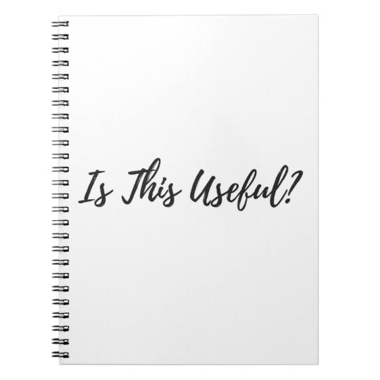 Is This Useful? Meditation Notebook in black and white