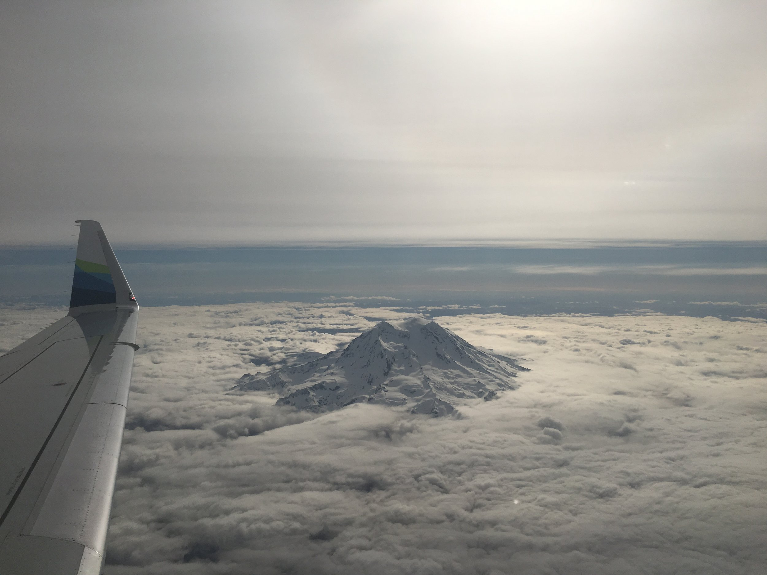 Love when Mt. Rainier is surrounded by clouds while flying above!
