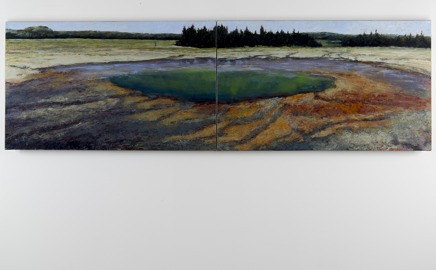 Grand Prismatic Hot Spring, 36 x 112 inches, diptych, oil on canvas. Available through the artist.