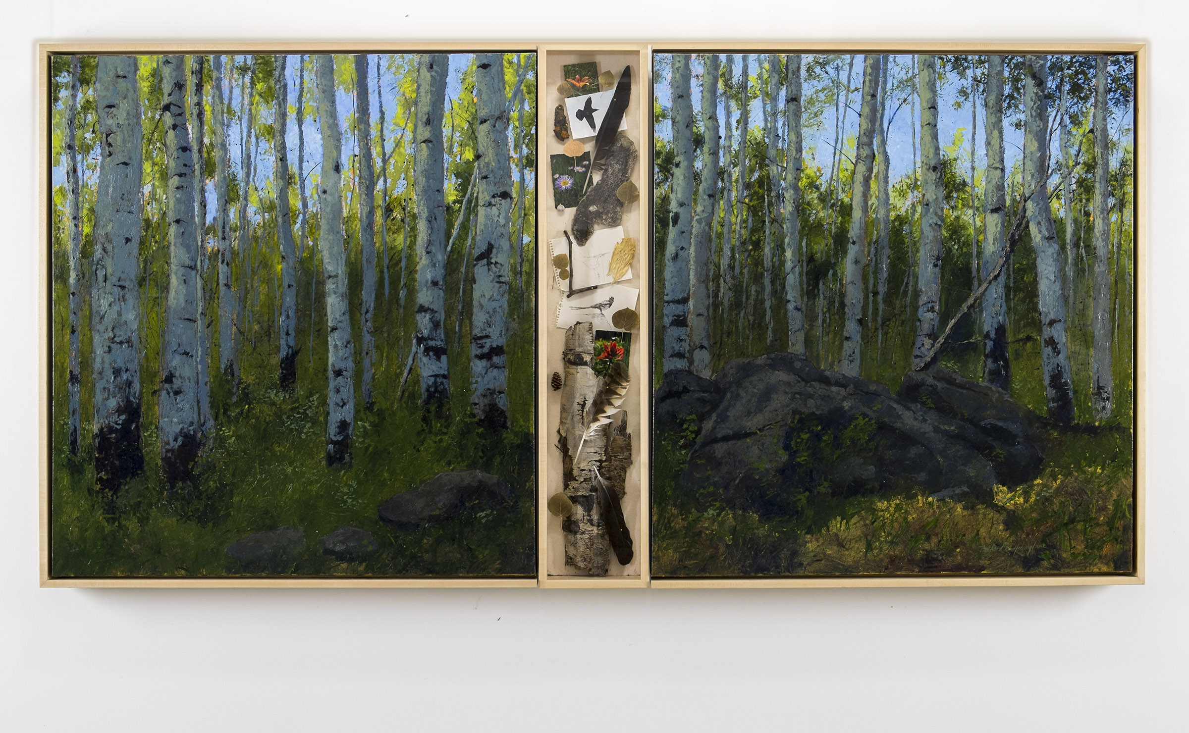 Along Kebler Pass, oil on canvas with curio cabinet, 48 x 110 inches. Available through the artist.Available through the artist.