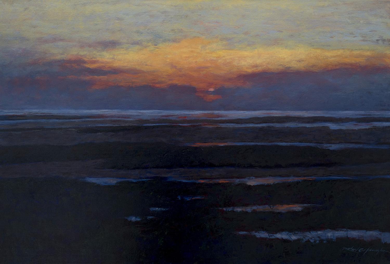 Flats at Dusk, oil on canvas. Available through the artist.