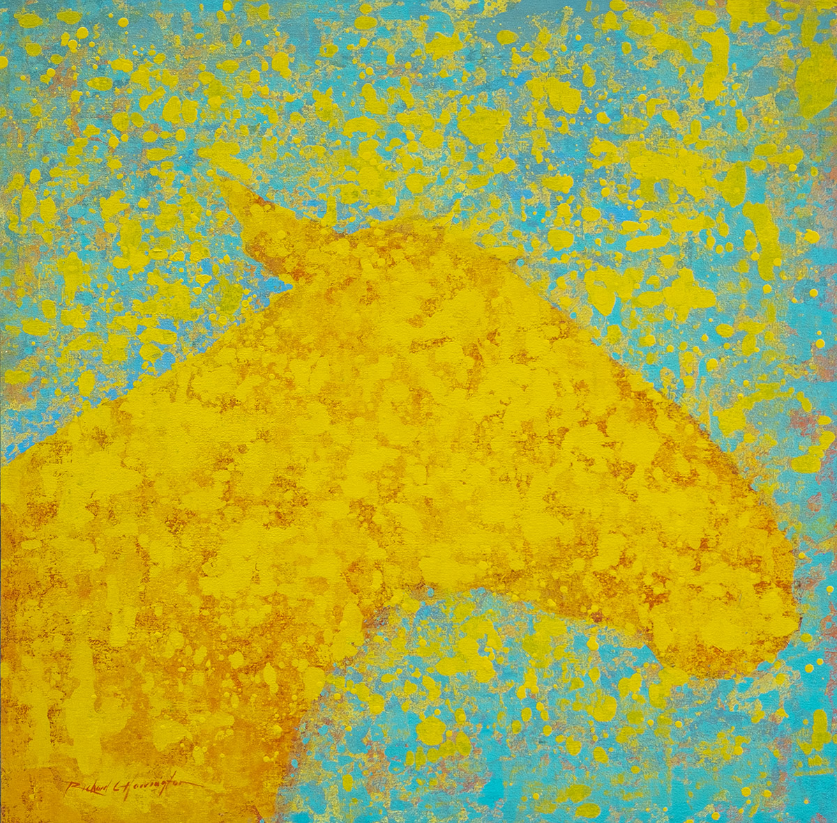 Yellow Dapple, 34 x 34, acrylic on panel. Available through artist.
