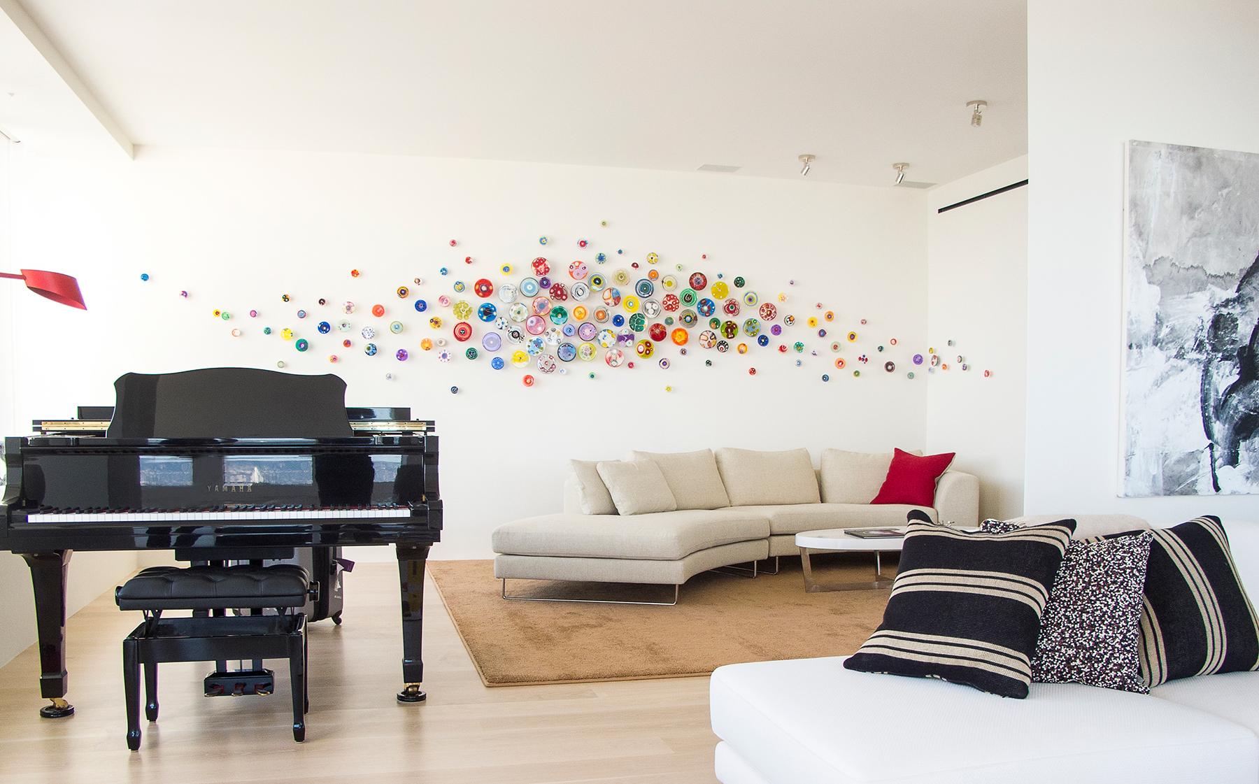 150 piece multicolor installation at the Millennium Tower, San Francisco.