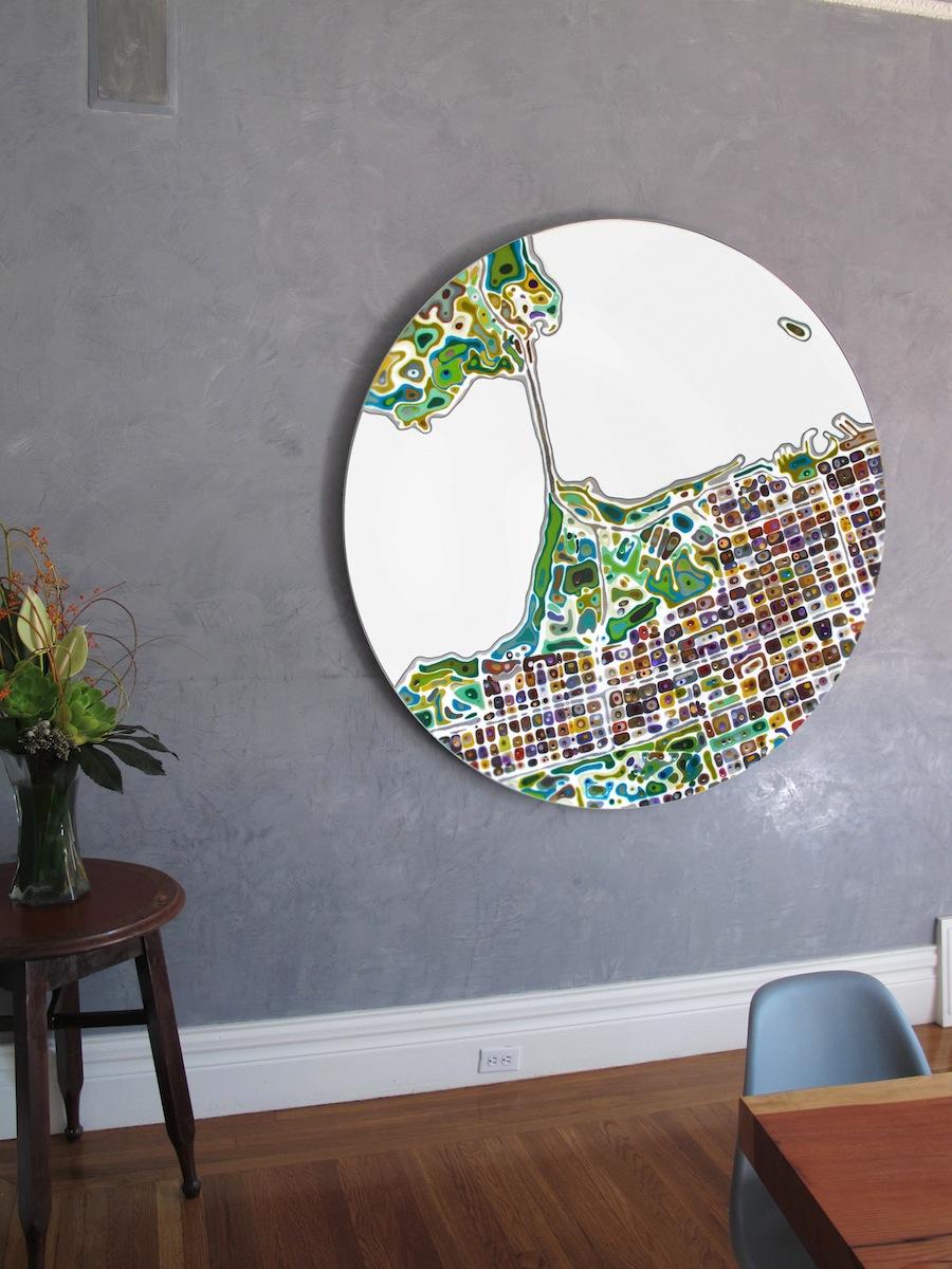 Topographical Artwork by Klari Reis. Residential commission in San Francisco.  Street Anatomy Series.