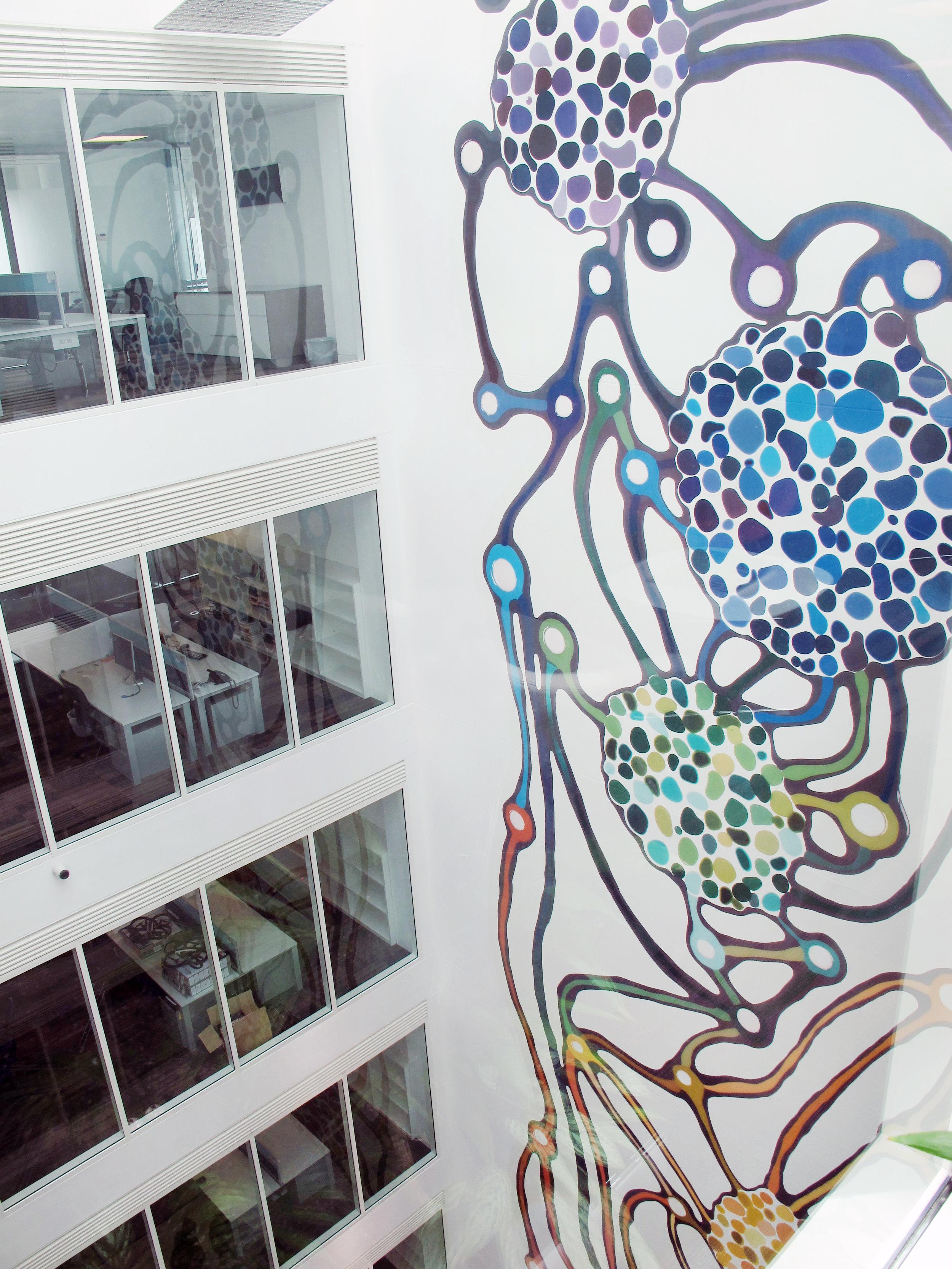 Klari Reis atrium artwork. Microsoft Research Cambridge, England
