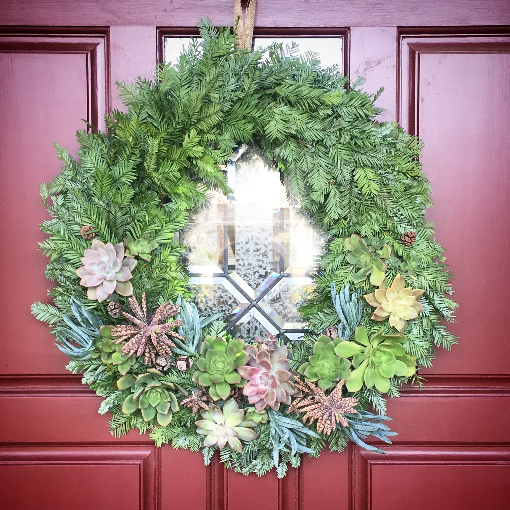 "14"" Redwood Succulent Wreath"