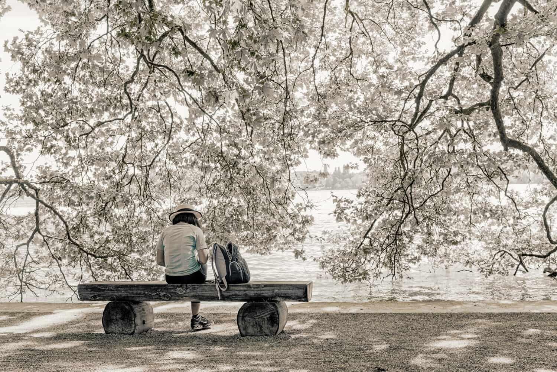 צילום אומנותי שבו אישה יושבת על ספסל