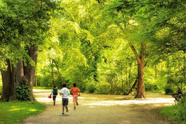 צילום רחוב של קבוצה של ילדים רצה בפארק