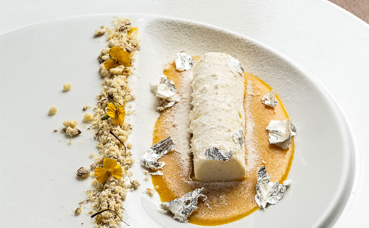 panna cotta with gold