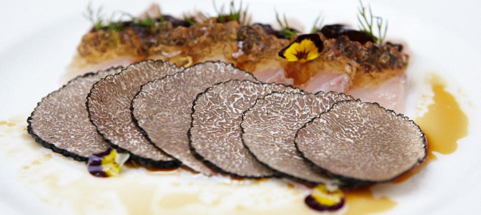 black summer truffle & wild sea bass carpaccio