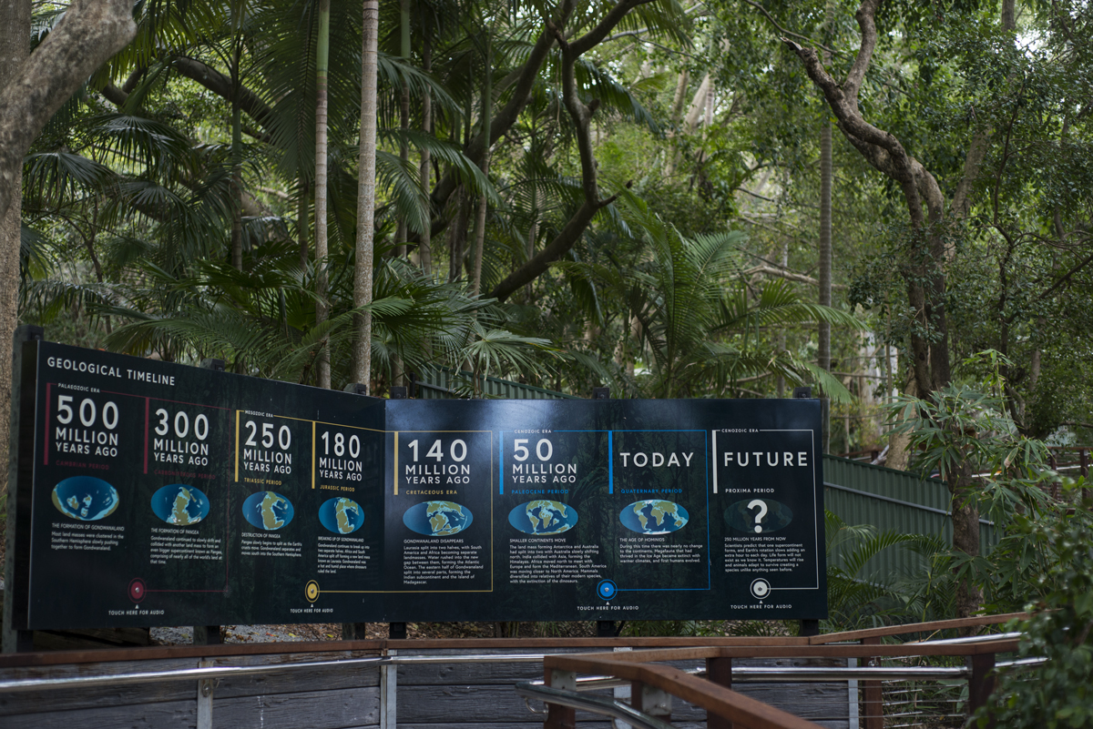 Interpretive signage showing a timeline of earth, gondwana, pangea and more at lost valley currumbin wildlife sanctuary