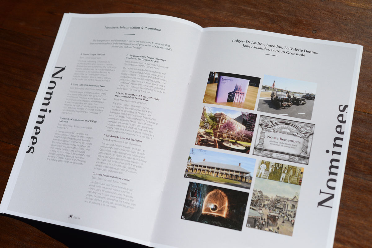 The Interpretation and Promotion nominees page for the National Trust of Australia (Queensland) Heritage Awards 2018 Guide.
