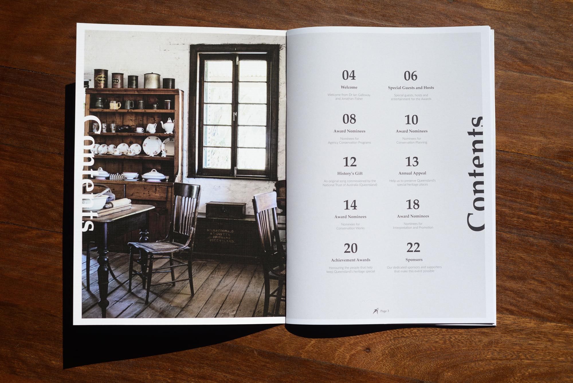 Layout design of the Contents page for the National Trust of Australia (Queensland) Heritage Awards 2018 Guide