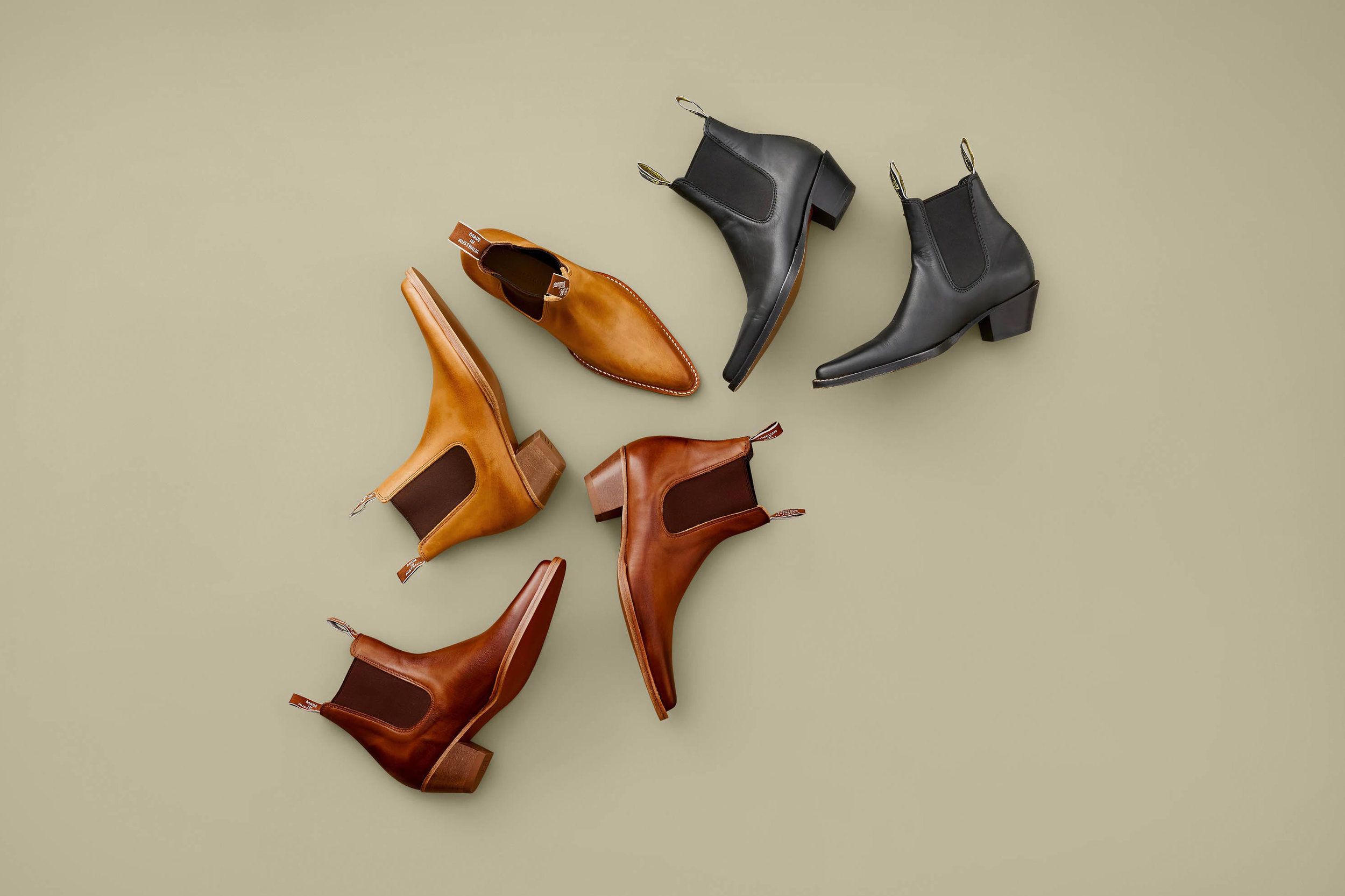 Womens RM Williams flatlay boots, photographed and retouched on a flat surface