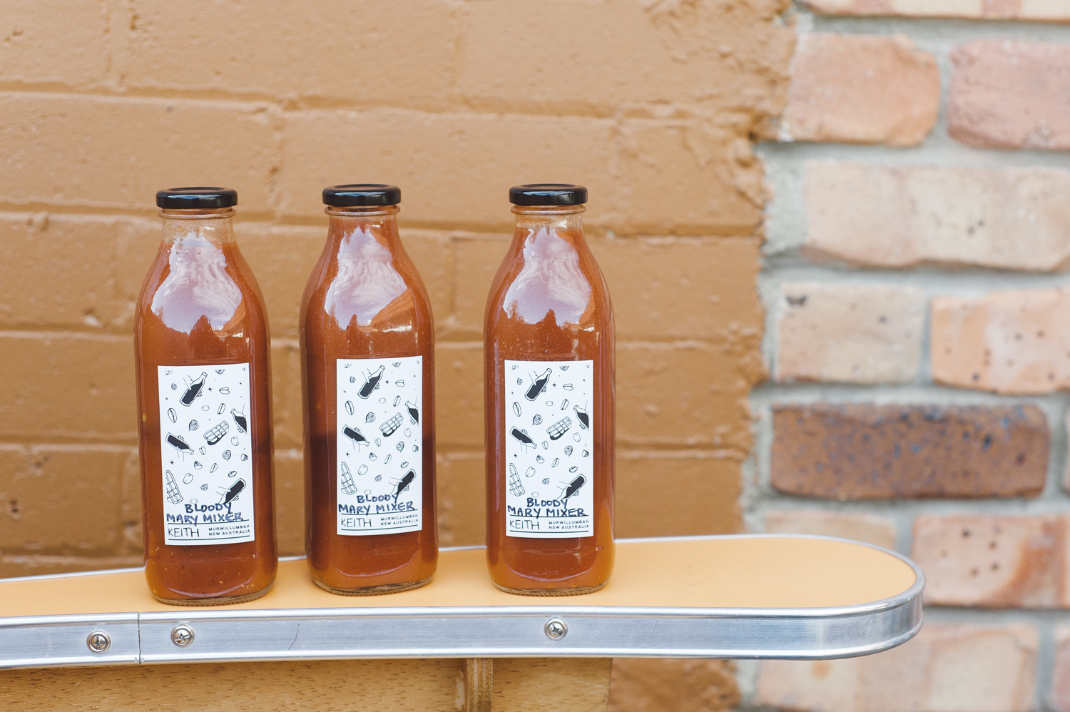 This brief started with a range of concept labels, beginning with bloody mary mixer bottles.