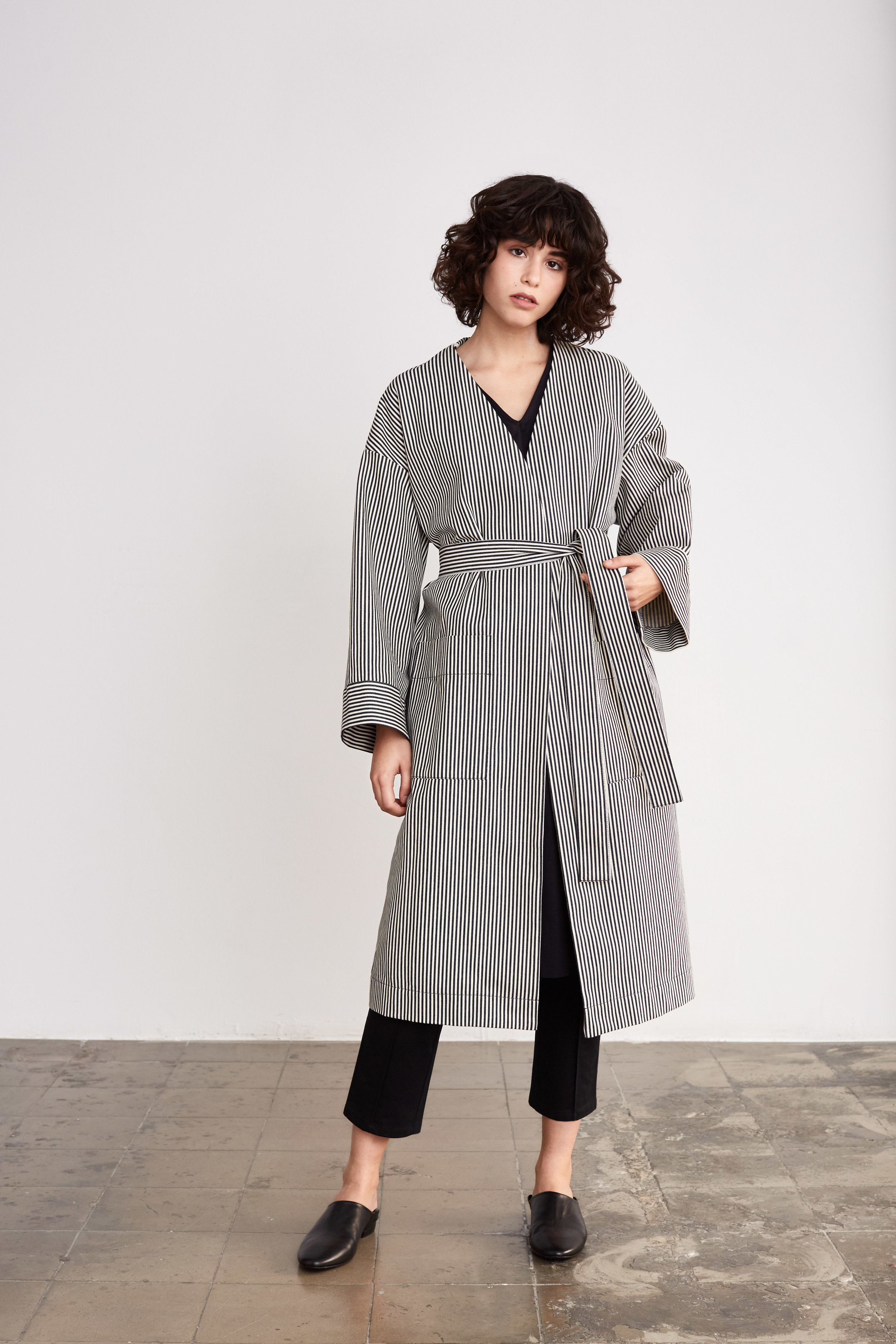 <b>6</b><br>Mira Striped Denim Coat<br>Donna Herrigbone Dress<br>Stina Stretch Cotton Pants