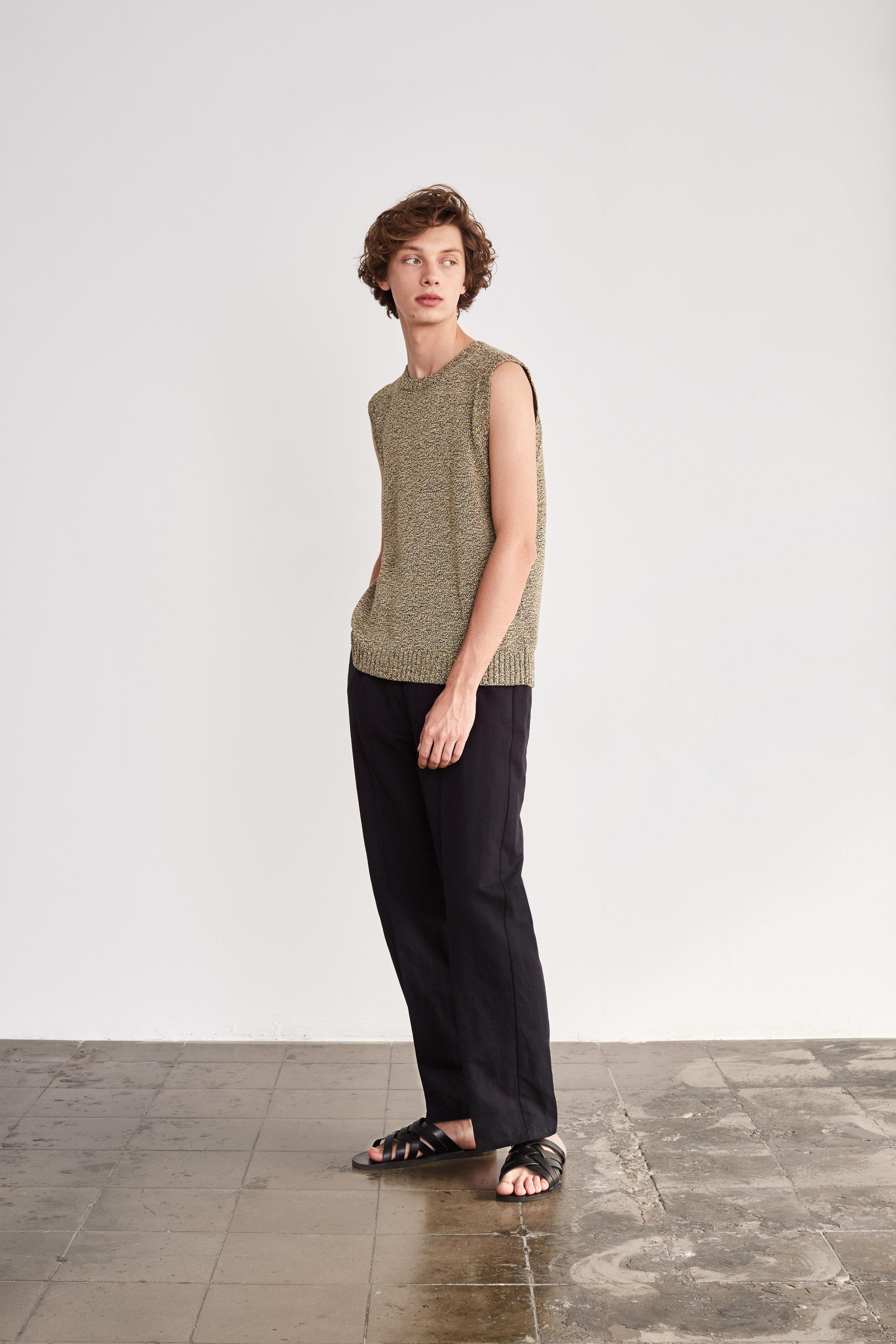 <b>9</b><br>Forest Melange Knit Vest<br>Felix Herringbone Pants