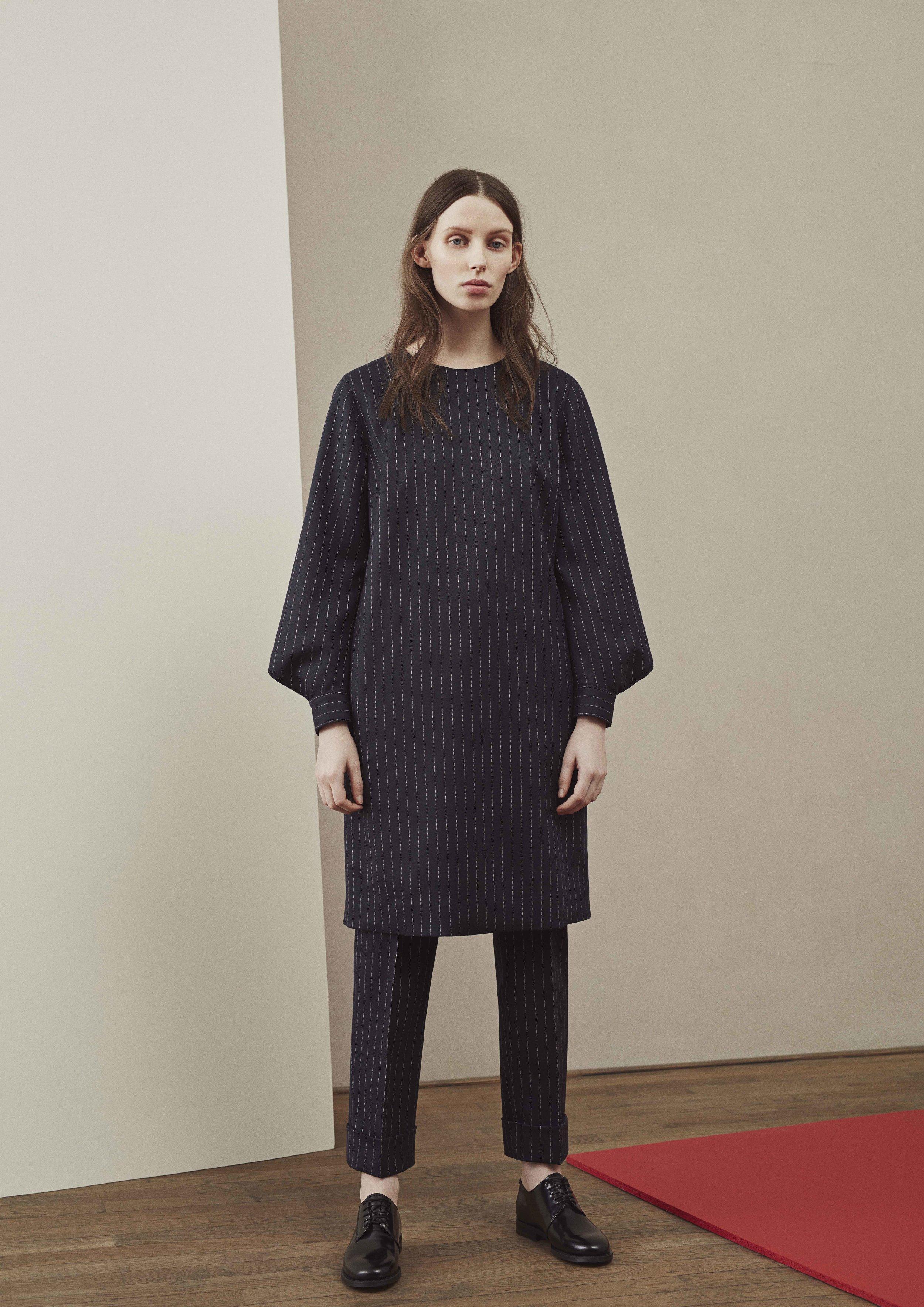 <b>3</b><br>Asta Pinstriped Wool Dress<br>Katarina Pinstriped Wool Pants