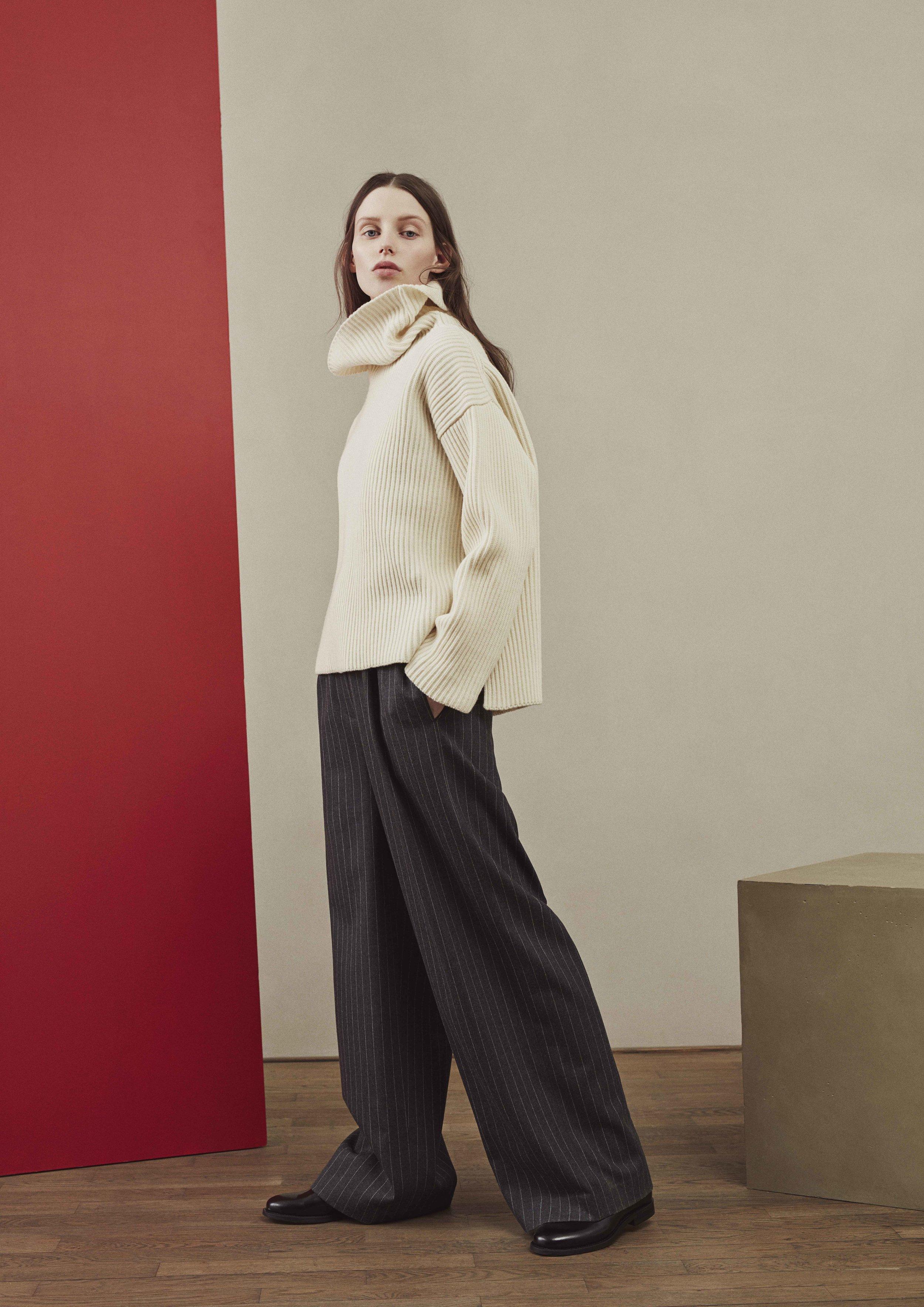 <b>9</b><br>Doris Merino Sweater<br>Anna Pinstriped Wool Jumpsuit