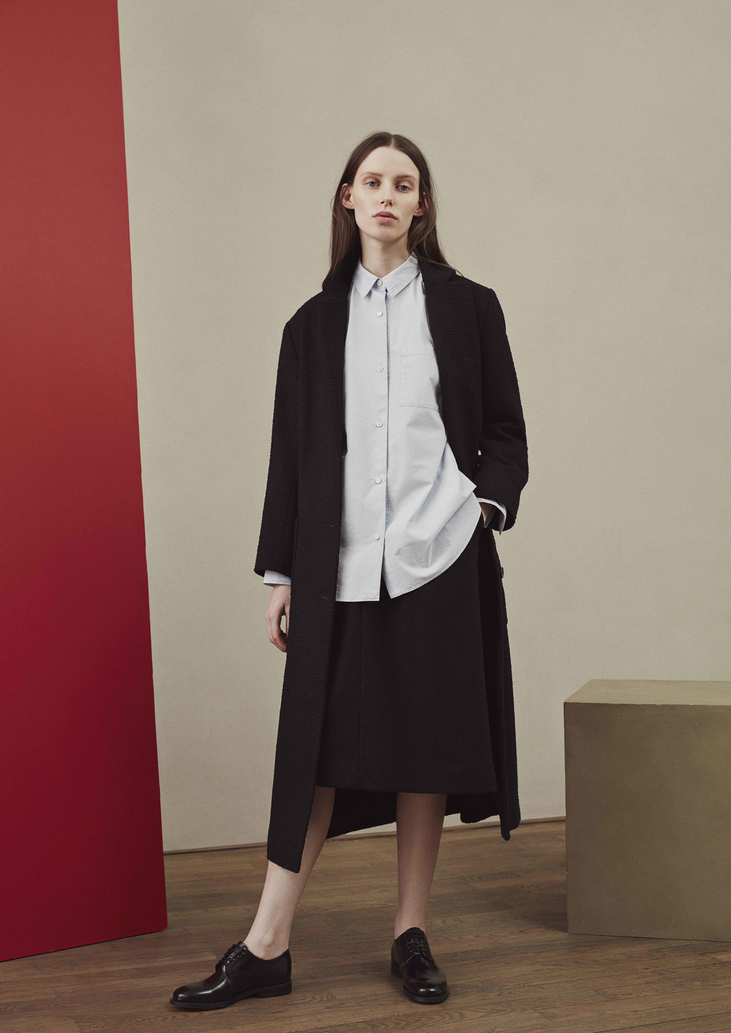 <b>4</b><br>Zelda Cotton Shirt<br>Olivia Textured Wool Skirt<br>Nora Textured Wool Coat