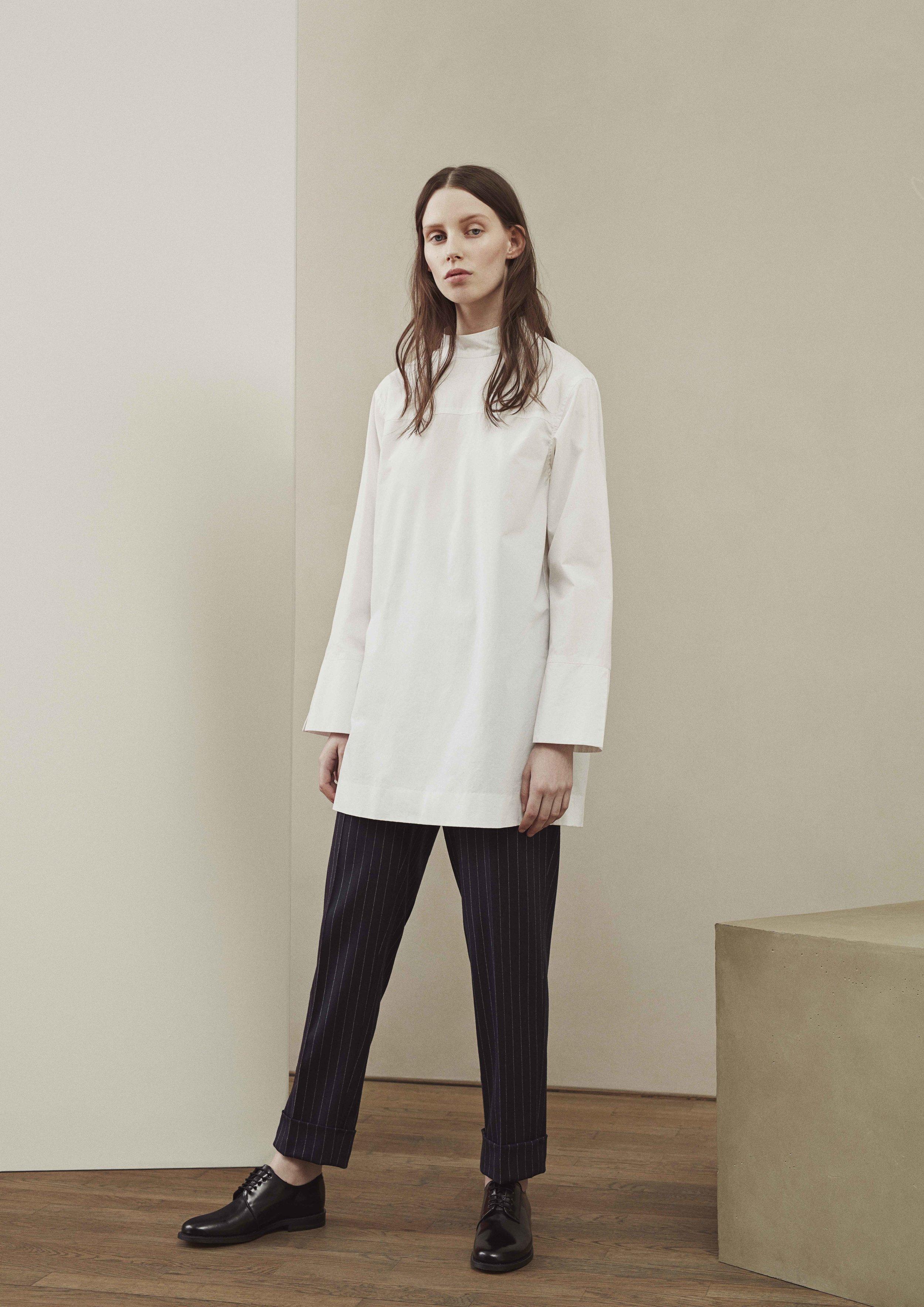 <b>12</b><br>Maria Cotton Tunic<br>Katarina Pinstriped Wool Pants