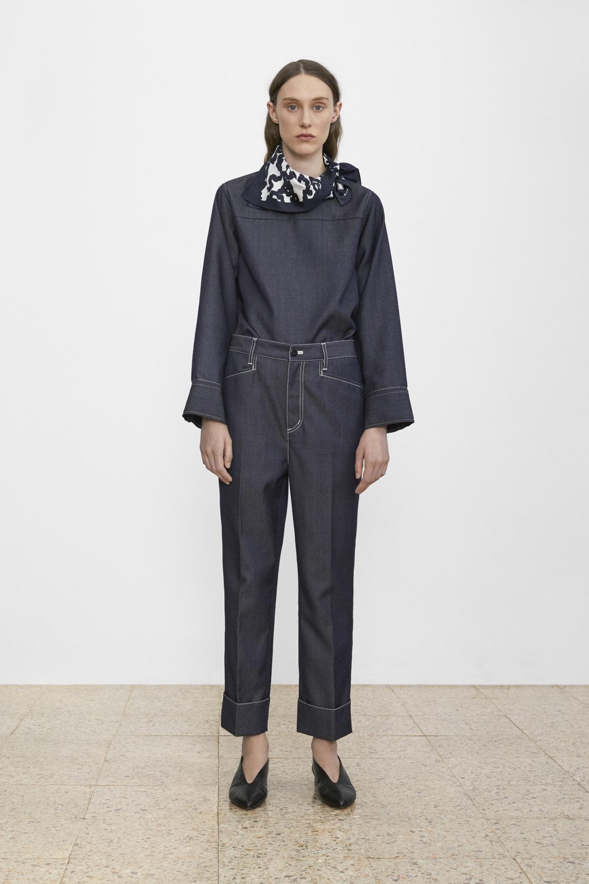 <b>2</b><br>Lilah Wool Denim Top<br>Skyler Wool Denim Pants<br>Printed Silk Scarf