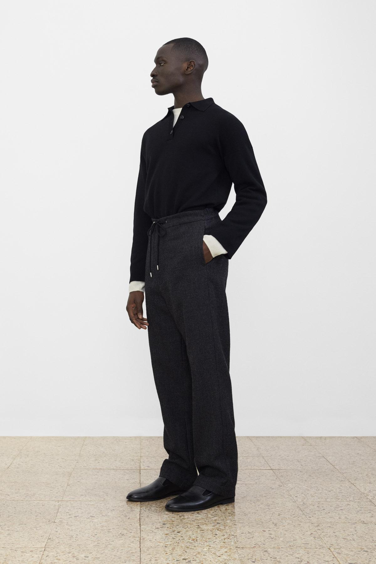 <b>12</b><br>Solo Milano Knit Top<br>Gilbert Boiled Wool Top<br>Hakon Checked Wool Pants