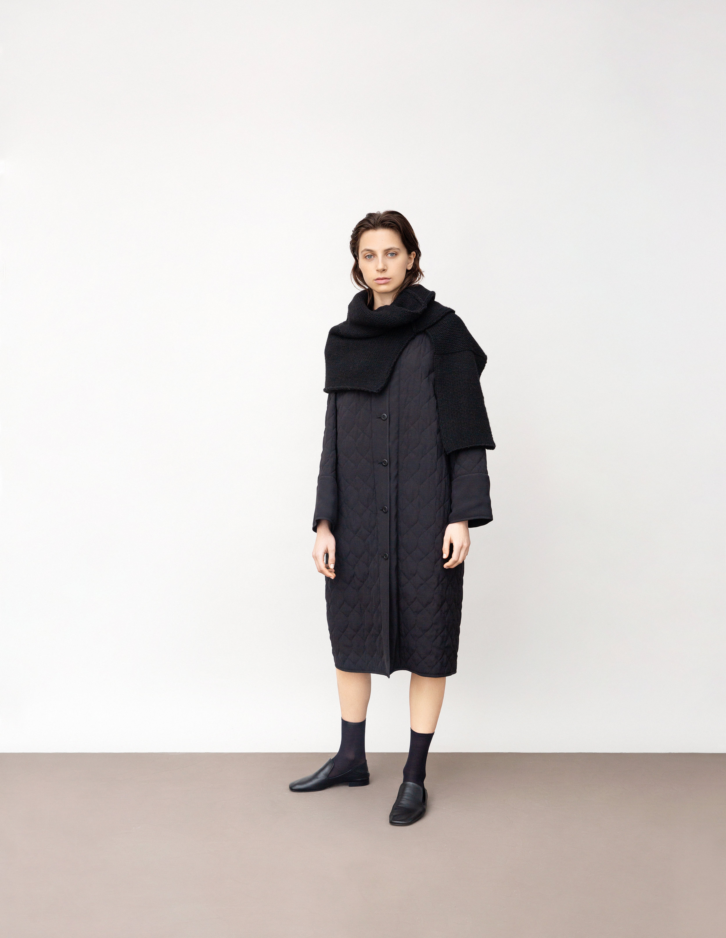 <b>1</b><br>Winona quilted coat<br>Lisa wool knit top worn over the shoulders
