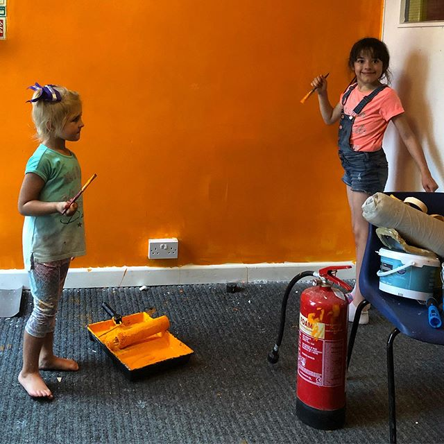 Our special volunteers helping paint :)