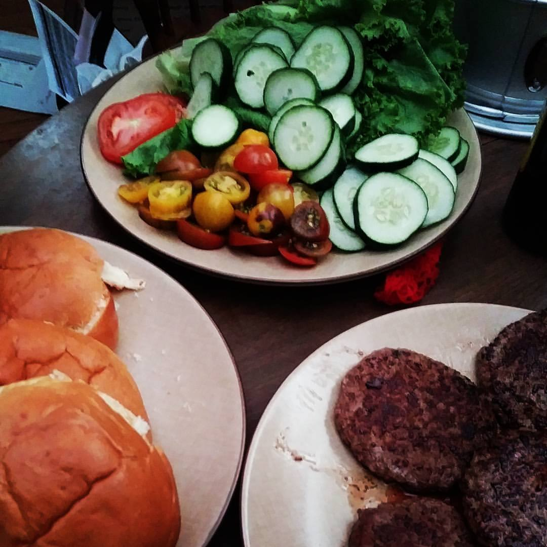 It was insanely satisfying to serve hamburgers to a four year old with veggies that we grew together in our garden!